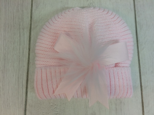 Pink Beanie with Bow & Pom Detail